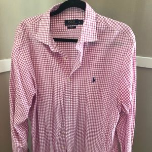 Polo by Ralph Lauren pink and white gingham shirt